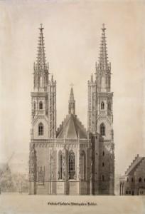 Ausbauplan Heideloffs von 1857, östliche Chorseite