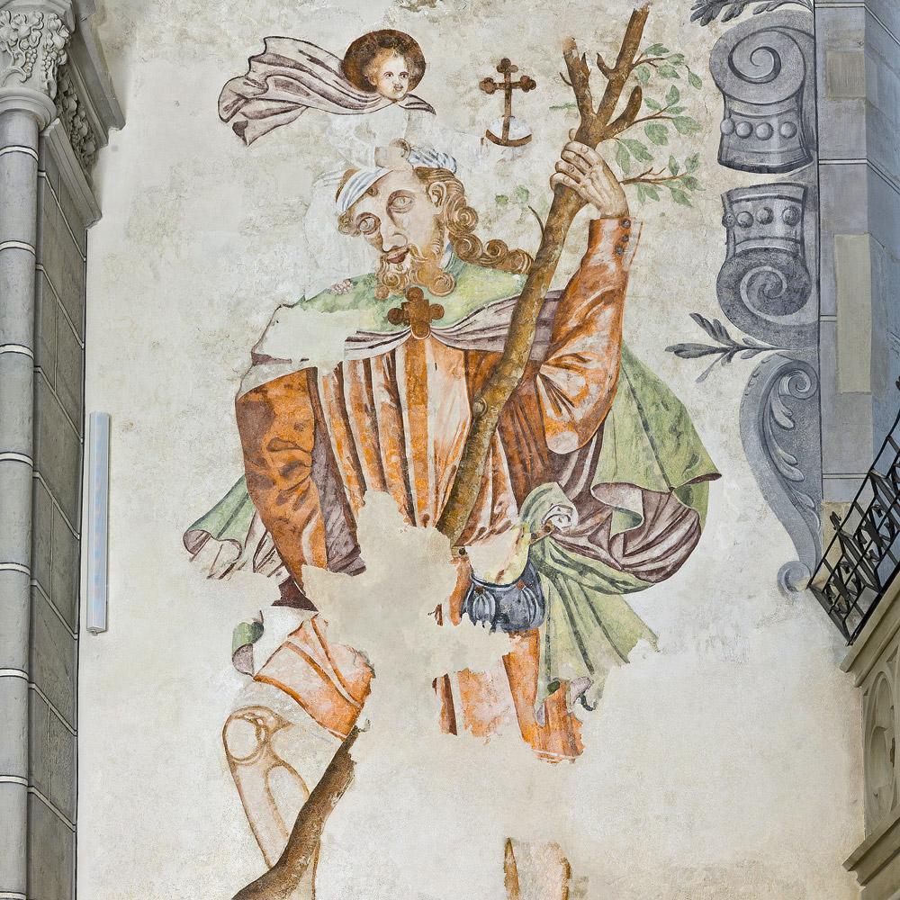 Christophorusgemälde auf der südlichen Wand im Hauptschiff